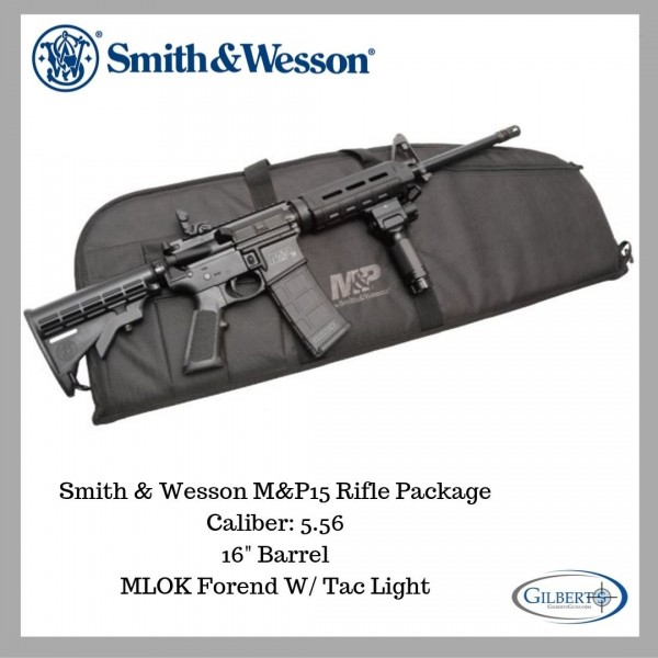 Smith & Wesson M&P15 5.56 Rifle With Tactical Foregrip Light & Rifle Bag 13060