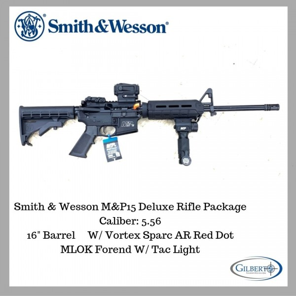 Smith & Wesson M&P15 Sport II 5.56 Rifle With Vortex Sparc AR & Foregrip Tac Light