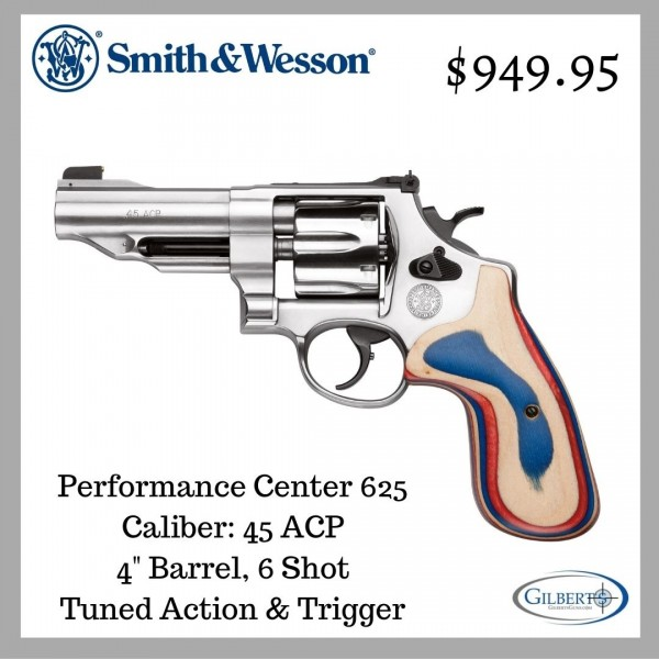"Smith & Wesson 625 Performance Center 45 ACP 4"" Revolver 170161"