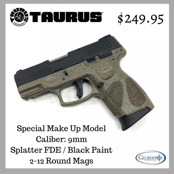 Taurus G2C 9mm Pistol With Splatter FDE / Black Paint 1-G2C931-SPFDE