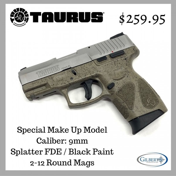 Taurus GC2 Stainless 9mm Pistol With Splatter FDE / Black Paint 1-G2C939-SPFDE