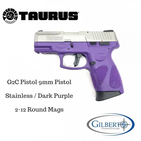 Taurus G2C 9mm Stainless Pistol With Dark Purple Frame 1-G2C939-12DP