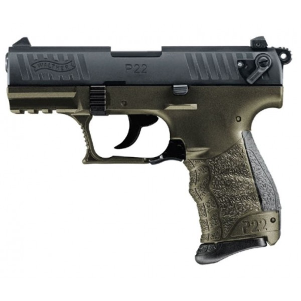 """Walther P22Q 22LR Military Pistol With 3.42"""" Barrel & OD Green Frame 51207015"""