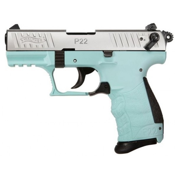 """Walther P22Q 22LR Stainless Pistol With 3.42"""" Barrel & Angel Blue Frame 5120760"""