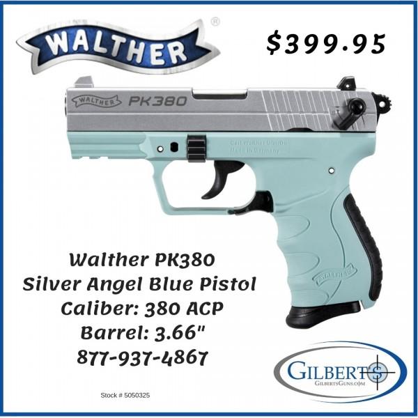 Walther PK380 Silver Angel Blue 380 Pistol 5050325