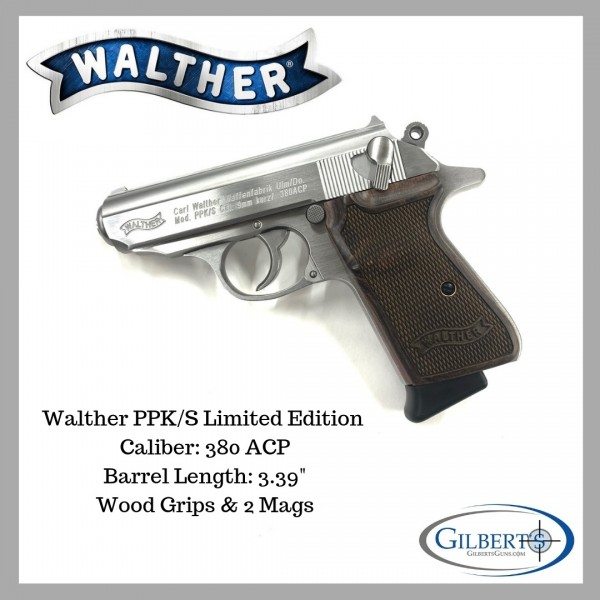 Walther PPK/S Limited Edition Stainless 380 ACP Pistol With Wood Grips 4796004WG