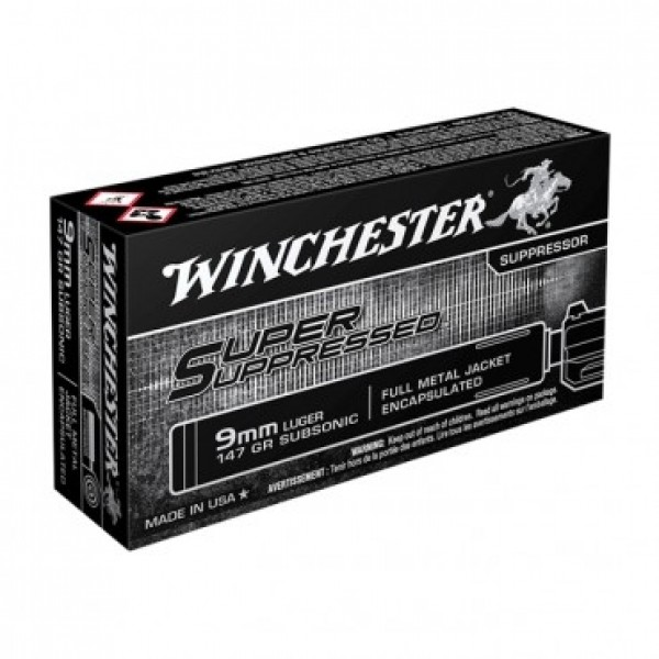 Winchester Super Suppressed 9mm 147 SubSonic FMJ Ammunition SUP9
