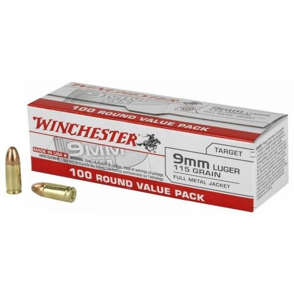 Winchester 9mm 115 Grain FMJ Ammunition (100 Rounds)  USA9MMVP