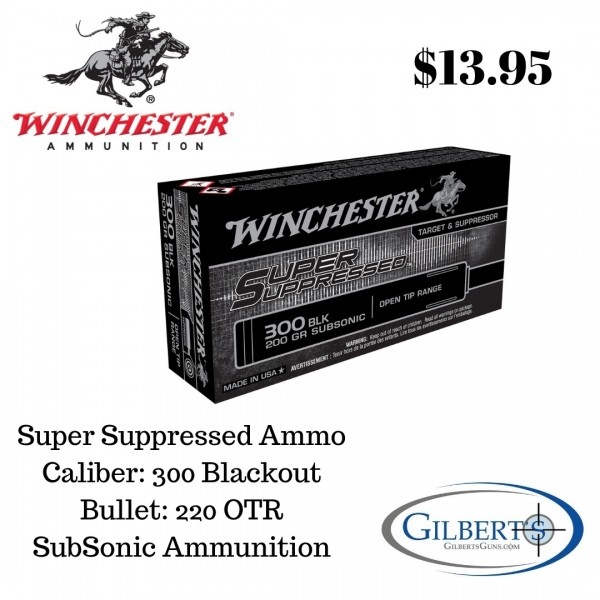 Winchester Super Suppressed 300 BLK 200 Grain Open Tip Range Subsonic SUP300BLK
