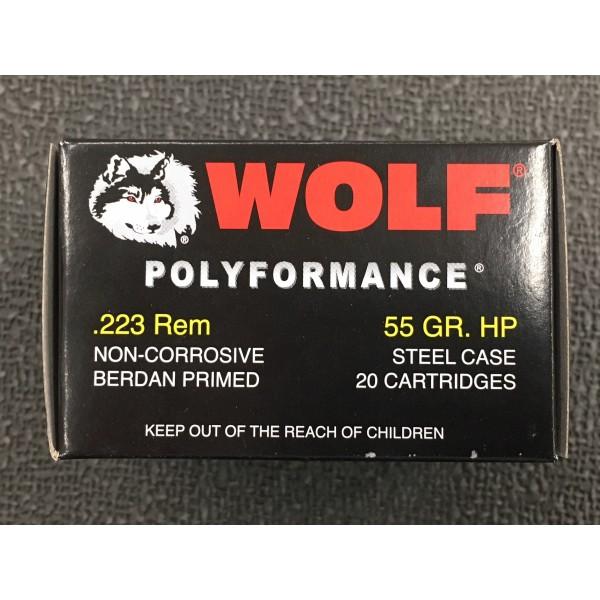 Wolf Polyformance 223 Remington 55 Grain HP Steel Case Ammunition (20 Rounds)