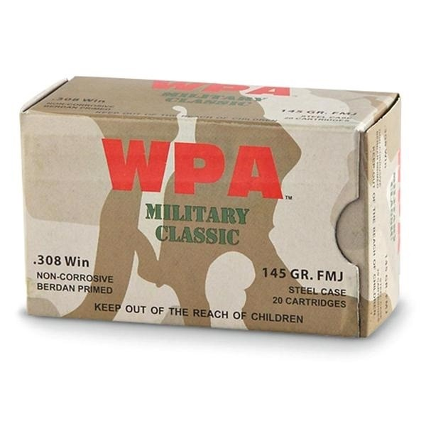 Wolf Military Classic 308 Win 145 Grain FMJ Ammunition (500)